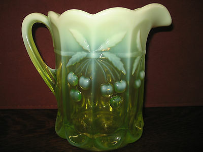 Vaseline Opalescent Glass cherry and cable pattern water serving pitcher uranium
