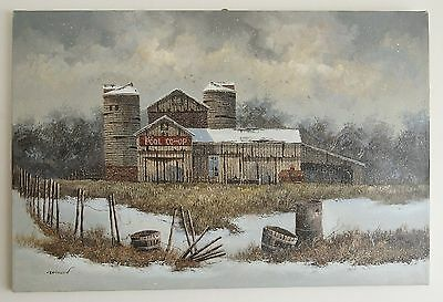 "Signed WILSON POOL CO-OP Original Oil on Canvas 36""  X 24"" Unframed Painting"
