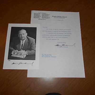 William Knowland was an American politician Hand Signed Photo & Letterhead 1956