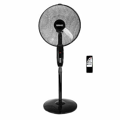 Duronic FN60 Floor Stand Black Oscillating Fan 16-Inch with Remote Control 60W