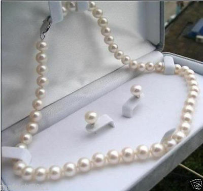 """Fashion 7-8mm Natural White Akoya Cultured Pearl Earrings Necklace Set 18"""""""