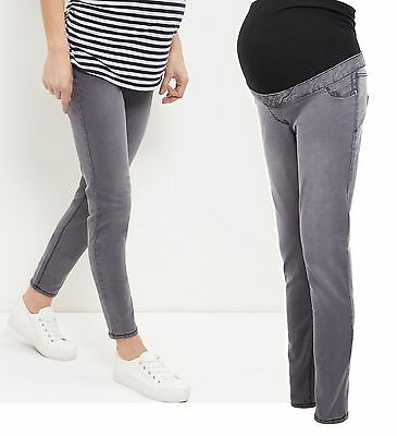 New Look Grey Over Bump Maternity Jeans Skinny Jeggings Size 8,10,12,14,16,18,20