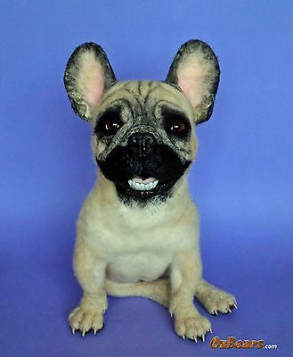 French Bulldog Art Sculpture Realistic Lifelike Dog Needle Felted by OzBears
