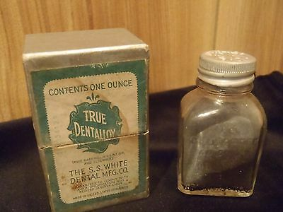 vintage True Dentalloy bottle with contents, cap & box S.S. White Dental Mfg. Co