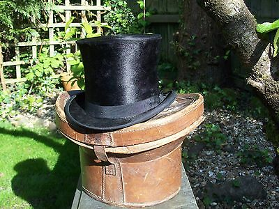 Antique Best Quality London Plush / Moleskin Top Hat In A Leather Case
