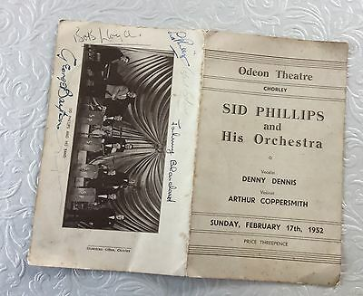 Programme Odeon Threatre Chorley, Sid Phillips and his orchestra,1952, autograph