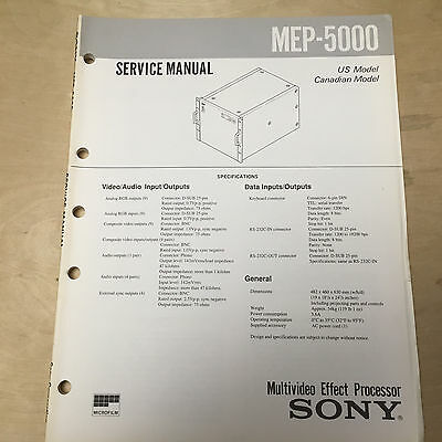 Sony Service Manual for the MEP-5000 Multivideo Effect Processor ~ Repair