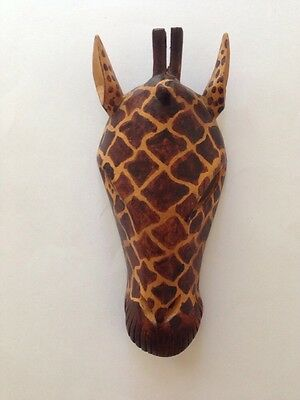 Wooden Hand Carved Giraffe Head Wall Decor 9""