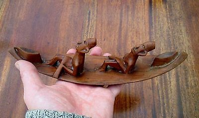 1930's Carved Wooden Native American Folk Art Sculpture - Men In A Canoe Carving