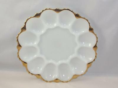 VTG Milk Glass w Gold Rim Deviled Egg Plate Platter, Tray, Dish