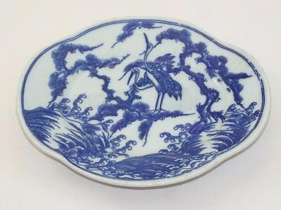 Antique VTG Chinese Porcelain China Blue & White Asian Crane Small Plate Dish