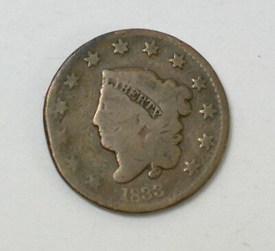 1833 Matron Coronet Head Large Cent US Coin Rare Early USA Lot #53