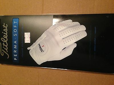 New Mens Titleist Perma Soft Medium Right Golf Glove White
