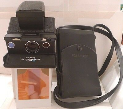 Polaroid SX-70 SLR Deluxe Alpha SE Instant Camera +Ever Ready Case &Guide TESTED