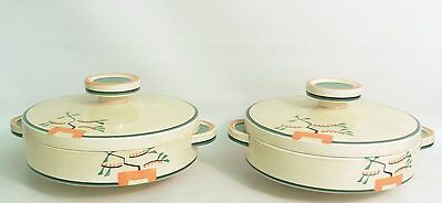 Pair Of 1930's Art Deco Clarice Cliff 'ravel' Tureens And Covers