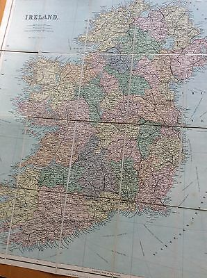 19th century cloth-mounted map of Ireland George Philip very good condition