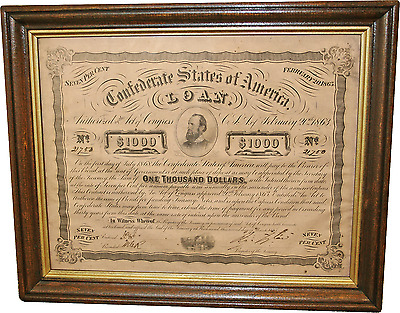 1863 $1000 Confederate States of America Civil War Treasury Bond in Wooden Frame