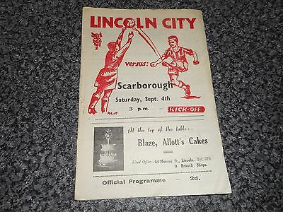 LINCOLN CITY  reserves  v  SCARBOROUGH   1948/9  M.LEAGUE ~ SEPT 4th   *SCARCE*