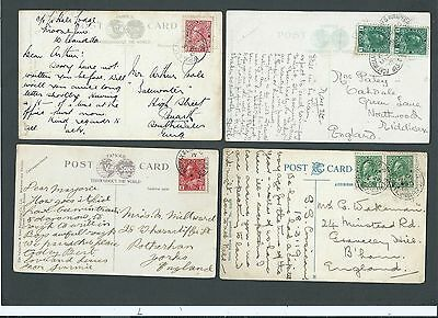 Railway Canada 1912/19 4x KGV 2c Picture Postcards with various R.P.O. s/c's
