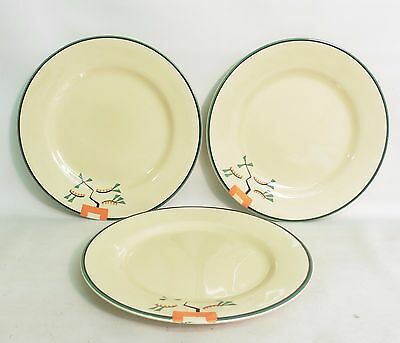 Set Of Three 1930's Art Deco Clarice Cliff 'ravel' Dinner Plates