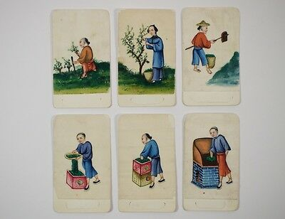 Set of six antique 19thc. Chinese tea production pith watercolour pictures