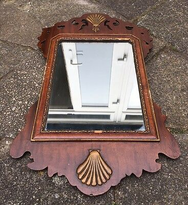 Antique 18th Century Georgian Fretted Wood Wall Mirror With Shell Motifs