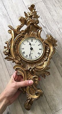Vintage Ornamental, Rococo Style, Wall Hanging Clock, Made In England