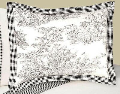 Pillow Case Sham for Sweet Jojo Designs Black Toile Girl or Boy Kid Bedding Sets