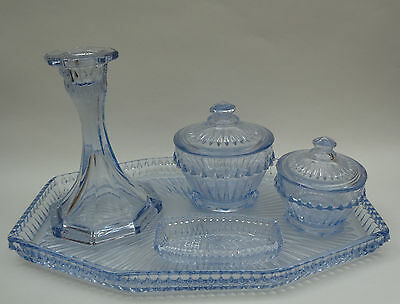 Stunning Vintage 1930s Art Deco BAGLEY & CO Blue Tinted Glass Dressing Table Set