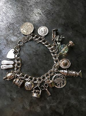 Solid 925 Silver Charm Bracelet - 42g Articulated / Openers - 15 Charms