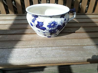 Victorian Blue And White Flowered Chamber Pot