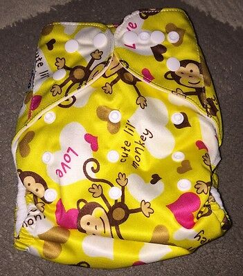 Reusable and Washable Pocket Baby Cloth Diaper by Moshiko Yellow Monkey NWOT