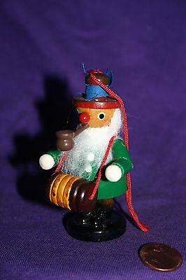 Vintage wood Christmas ornament Man with pipe