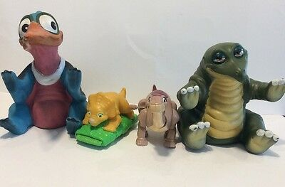 Lot Of 4 Land Before Time Figures, Wind Up, Rubber Puppets, Pizza Hut, Rare