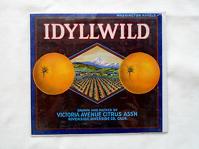 "Vintage 1940s Idyllwild Riverside Orange Original Crate Label 11"" x 10"""
