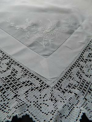 Antique Victorian white Irish linen tablecloth hand crochet lace & embroidery