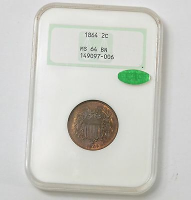 1864 2 Cent NGC & CAC MS64 BN US Coin 2c Graded Lot #81