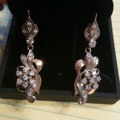 Vintage Russian VS1 clarity Diamond and 583 Gold Drop Earrings