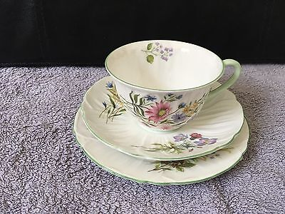Vintage Shelley 'Wild Flowers' Design 13668 cup, saucer & side plate