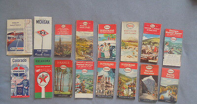 Vintage Gas Station Advertising Road Maps ~ Lot of 16 1950's ~ Esso Texaco D-X