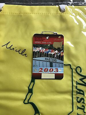 2003 Masters Badge Mike Weir Champion Augusta National Ticket Palmer Nicklaus