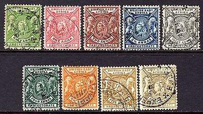 British East Africa QV 1896-1901 Set to 8a SG65-74 (Missing 7½a) Used Cat £67