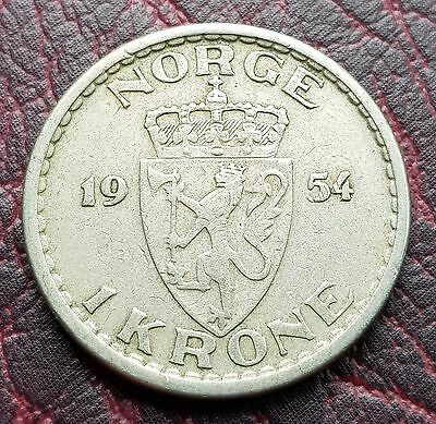 (10A) Norway 1954 1 Krone Coin Km# 397