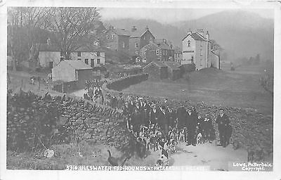 POSTCARD  CUMBRIA    ULLSWATER   Fox  Hounds at  PATTERDALE  Village