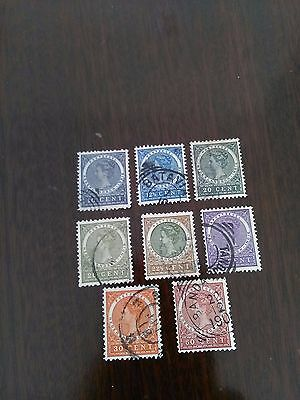 8 used stamps of netherlands indie