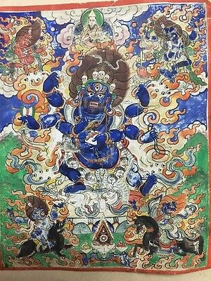 Antique Mongolian Tibetan  Buddhist Thangka Painting