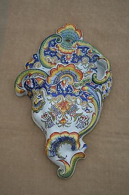 ANTIQUE FRENCH FAIENCE LARGE WALL POCKET VASE BOUQUETIERE DESVRES ROUEN 1890's