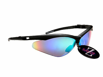 RayZor 37 Uv400 Black Framed Blue Green Mirrored Lens Cricket Sunglasses RRP£49