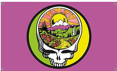 Grateful Dead Steal Your Face Fire On The Mountain Flag - Purple
