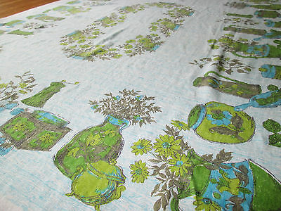 VTG 1960 60s Linen TABLECLOTH Mid Century Kitsch Rectangular 50 x 64 Inches